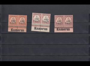Kamerun: MiNr. 12-14 vom Unterrand mit Inschrift, **