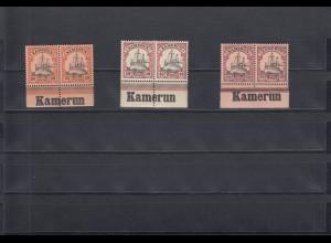 Kamerun: MiNr. 12-14 vom Unterrand mit Inschrift, postfrisch