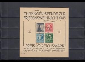 SBZ-Thüringen: MiNr. Block 2 t (IV), gestempelt Langenwiesen, BPP Attest