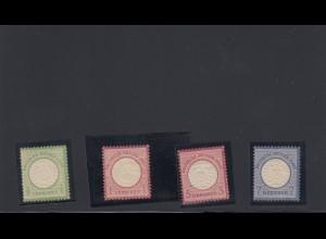 Deutsches Reich: MiNr. 17 ** (kl. Patina), 19,25,27 (letzte 3 Marken BPP Befund)