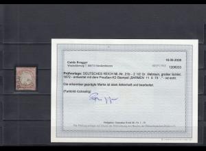 Deutsches Reich: MiNr. 21b, Stempel Barmen, BPP Befund