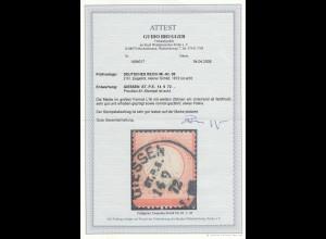 Deutsches Reich: MiNr. 08, großes Format L16, Stempel Giessen, BPP Attest