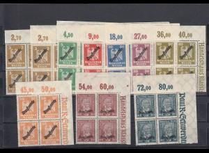 Deutsches Reich Dienst: MiNr. 105-113, postfrisch, Viererblock Eckrand