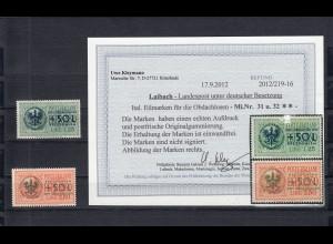 Dt. Besetzung Laibach: MiNr. 31 und 32, postfrisch, BPP Befund