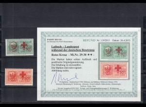 Dt. Besetzung Laibach: Rotes Kreuz MiNr. 29 und 30, postfrisch