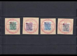 Franz. Zone: MiNr. 42-45A, Sonderstempel Rotes Kreuz 1949, BPP Signatur