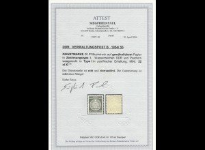 DDR: Verwaltungspost B: MiNr. 22 xI XI, postfrisch, BPP Attest