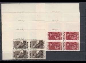 Volkshilfe Saar: MiNr. 135-141, postfrisch, Eckrand Viererblock mit Druckdatum