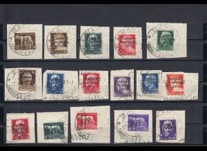 Zara: MiNr. 1-16, gestempelt auf Briefausschnitt, 4x BPP Attest