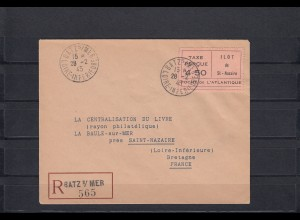 Frankreich: Einschreiben Batz s/mer to Saint-Nazaire, 18.2.1945