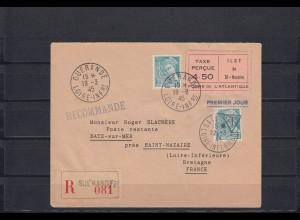 Frankreich: Einschreiben Guerande to Saint-Nazaire, 19.3.1945