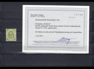 Bund: MiNr. 138 I, Posthorn, Plattenfehler, winziger Gummifehler, BPP Befund