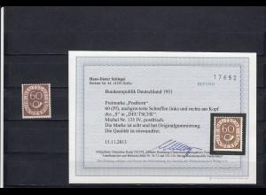 Bund: MiNr. 135 IV, postfrisch mit Plattenfehler, BPP Befund