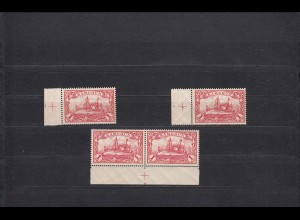 Kamerun: MiNr. 16, postfrisch, 3x mit Platten Nr. 1, 2, 4