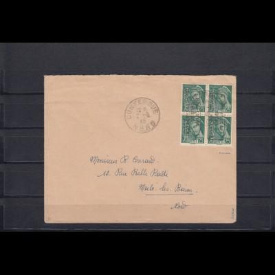 Frankreich-Dünkirchen, MiNr. 11 I K o, Vierblock auf Brief, Kopfsteher
