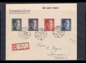 DR: MiNr. 799-802, auf R-Brief gestempelt Berlin nach Pirmasens