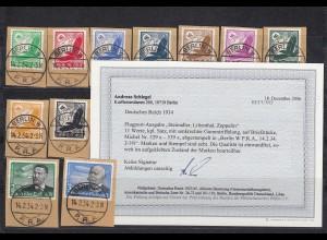 DR: MiNr. 529x-539x, Versandstellen Stempel Berlin W - P.R.A. 1934, BPP Befund