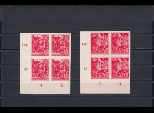 DR: MiNr. 909 - 910U, postfrisch im Eckrand Viererblock, VE3