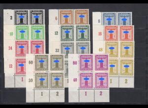 DR: Dienst: MiNr. 144-154, Eckrand-Viererblock VE3, postfrisch