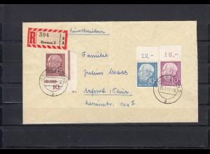 """Bund: MiNr. 186 D2 """"Rb"""", 187 und 188 Oberrand, als Einschreiben Bremen-Erfurt"""
