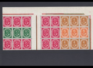 Bund: MiNr. W21 und W22 sowie weitere, Bogenecke, postfrisch