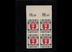 Danzig: MiNr. 80U, Vierblock vom Oberrand, postfrisch