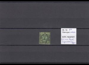 Oldenburg: MiNr. 1, gestempelt Varel, geprüft