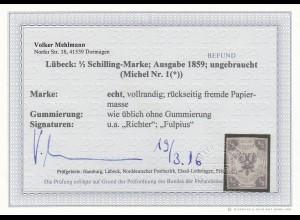 Lübeck, MiNr. 1, *, ungebraucht, BPP Befund