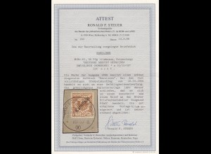 Karolinen: MiNr. 6I, gestempelt auf Briefstückk, BPP Attest