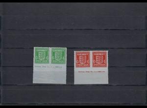 Guernsey: MiNr. 4 und 5, je im waagrechten Paar, postfrisch, Druckvermerk