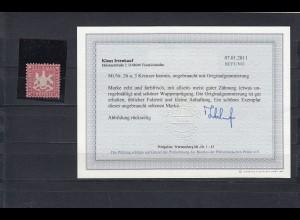 Württemberg: MiNr. 26a, Originalgummi, Falz, BPP Befund