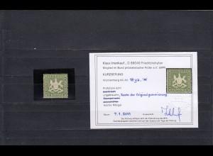 Württemberg: MiNr. 18ya, Reste Originalgummi, BPP Befund