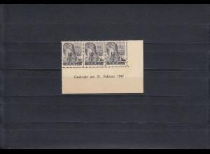 Saar: MiNr. 226 ZIBr, Eckrand Druckdatum, postfrisch