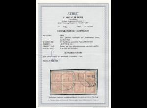 Mecklenburg-Schwerin: MiNr. 4 im Paar auf Briefstück, gestempelt, BPP Attest