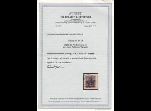 Danzig: MiNr. 39, zeitgerecht, zentrisch gestempelt, Briefstück, BPP Attest