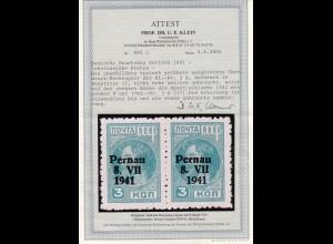 Deutsche Besetzung Estland 1941: MiNr. 3A Aufduck II, Plattenfehler, BPP Attest