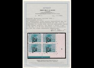 1941: MiNr. 3A Aufduck II, Plattenfehler 3AV, Eckrand Viererblock, BPP Attest