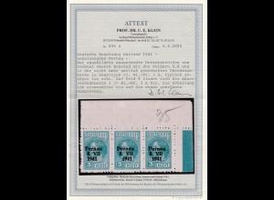 1941: MiNr. 3A Aufduck II, Plattenfehler 3 A VI, Eckrandstreifen BPP Attest