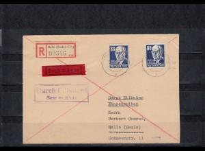 DDR 1953 MiNr. 339 xb XI mit 339 za XI auf Brief Halle, portogerecht, BPP Attest