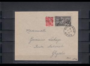Dt. Besetzung Frankreich: MiNr. 381, 408, auf Brief 1940 Dunkerque, Krischke