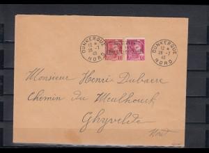 Dt. Besetzung Frankreich: MiNr. 381, 388, auf Brief 1940 Dunkerque, Krischke