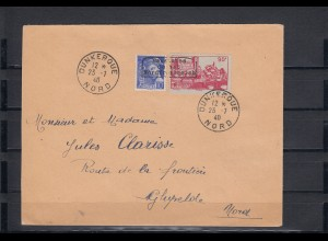 Dt. Besetzung Frankreich: MiNr. 376, 409, auf Brief 1940 Dunkerque, Krischke