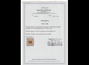 Württemberg: Dienst MiNr. 188, gestempelt 1924, BPP Attest