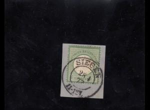 DR: MiNr. 17b, Briefstück gestempelt, Siegen 1873, BPP Befund