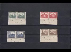 MiNr. 450-453 Unterrand Paar mit PlattenNr. und Buchstabe 7, spiegelverkehrt, **