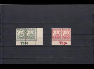 Togo: MiNr. 8-9, Unterrand mit Inschrift im Paar, postfrisch, **
