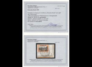 DR: MiNr. 728 mit PlattenNr. vom Eckrand, gestempelt Danzig Langfuhr, BPP Befund
