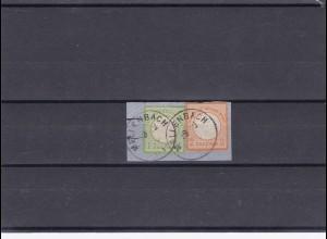 Deutsches Reich: MiNr.23a,24 auf Briefstück, Mellenbach, gestempelt, BPP Attest