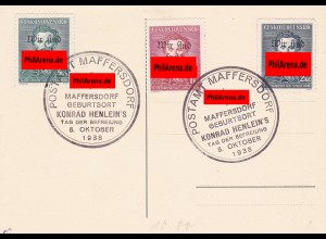 Sudetenland: MiNr. 134-136, gestempelt Maffersdorf - Henlein