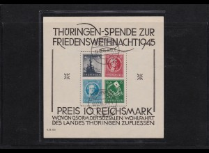 SBZ: Block 2x Type III, gestempelt Nordhausen 1945, BPP Attest